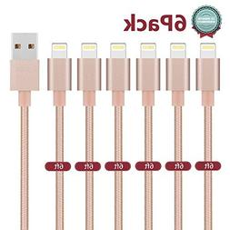 iPhone Charger, Bestfy Lightning Cable 6Pack 6FT Nylon Braid