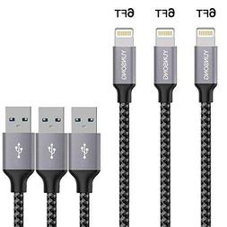 Iphone Charger 3pack 6ft Nylon Braided Lightning Cable Charg