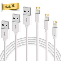 Phone Cable, Quntis 3Pack 3ft 6ft 9ft USB Cable Certified Fa