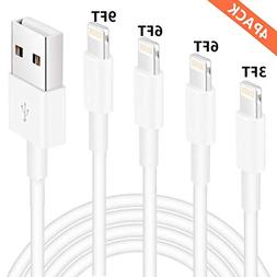 iPhone Charger, Lightning Cable, MFi Certified 4 Pack 3FT 6F
