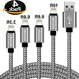 iPhone Charger, AKEDRE 4Pack  Foot  Durable Nylon Braided Li