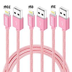 NANMING iphone Charger,3Pcs 3FT 6FT 10FT Extra Long Nylon Br
