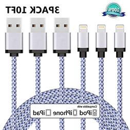 iPhone Charger, Everdigi 3Pack 10FT Lightning Cable Nylon Br