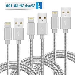 Novtech iPhone Charger Cable 3 Pack 3ft 6ft 10ft Lightning t