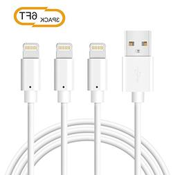 Phone Charger Cable BUDGET & GOOD USB Cable 3 Pack 6ft Certi