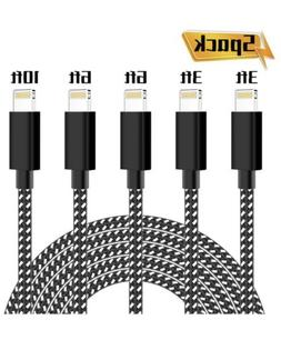 PLmuzsz iPhone Charger,MFi Certified Lightning Cable 5 Pack.