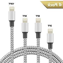 Besiva iPhone Charger 4Pack 3FT 6FT 6FT 10FT Nylon Braided L