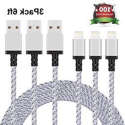 Xcords iPhone Charger 3Pack 6FT Nylon Braided 8Pin Lightning