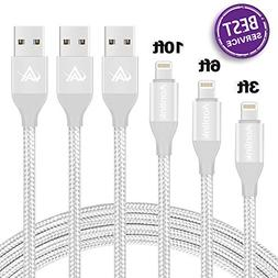 iPhone Charger,Lansen 3 Pack Lightning Charging Cable, Multi
