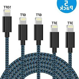 iPhone Charger TNSO MFi Certified Lightning Cable 5 Pack  Ex