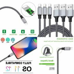 Iphone Charger, Yunsong 3Pack 6Ft Nylon Braided Lightning Ca