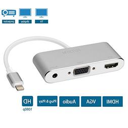 iPhone iPad to HDMI VGA Adapter, FUTSYM Lightning to HDMI Ad