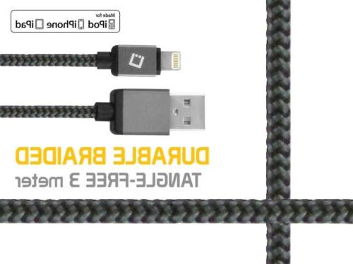10 Ft. Lightning Nylon Braided Charger & USB Sync Cable for