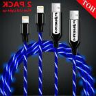 2X Flow LED Light Up EL Lightning USB Smart Charging Cable f