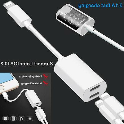 Double Lightning Auido Charger headphones Jack Cable Convert