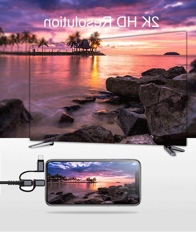 2K HDTV HDMI For X MAX Samsung S10+ iOS Type C to TV