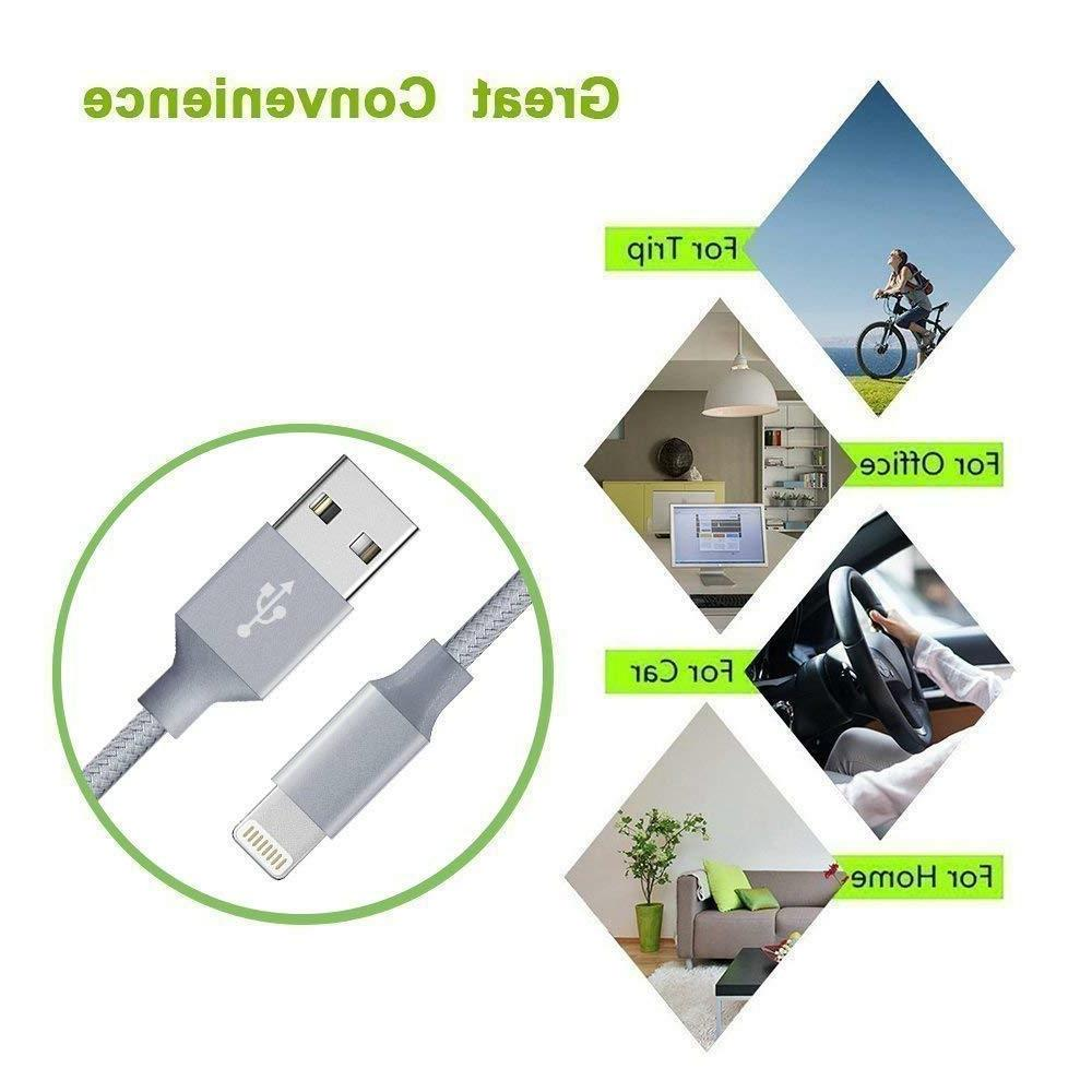 3-Pack 3Ft Lightning Heavy iPhone s plus Charger Charging