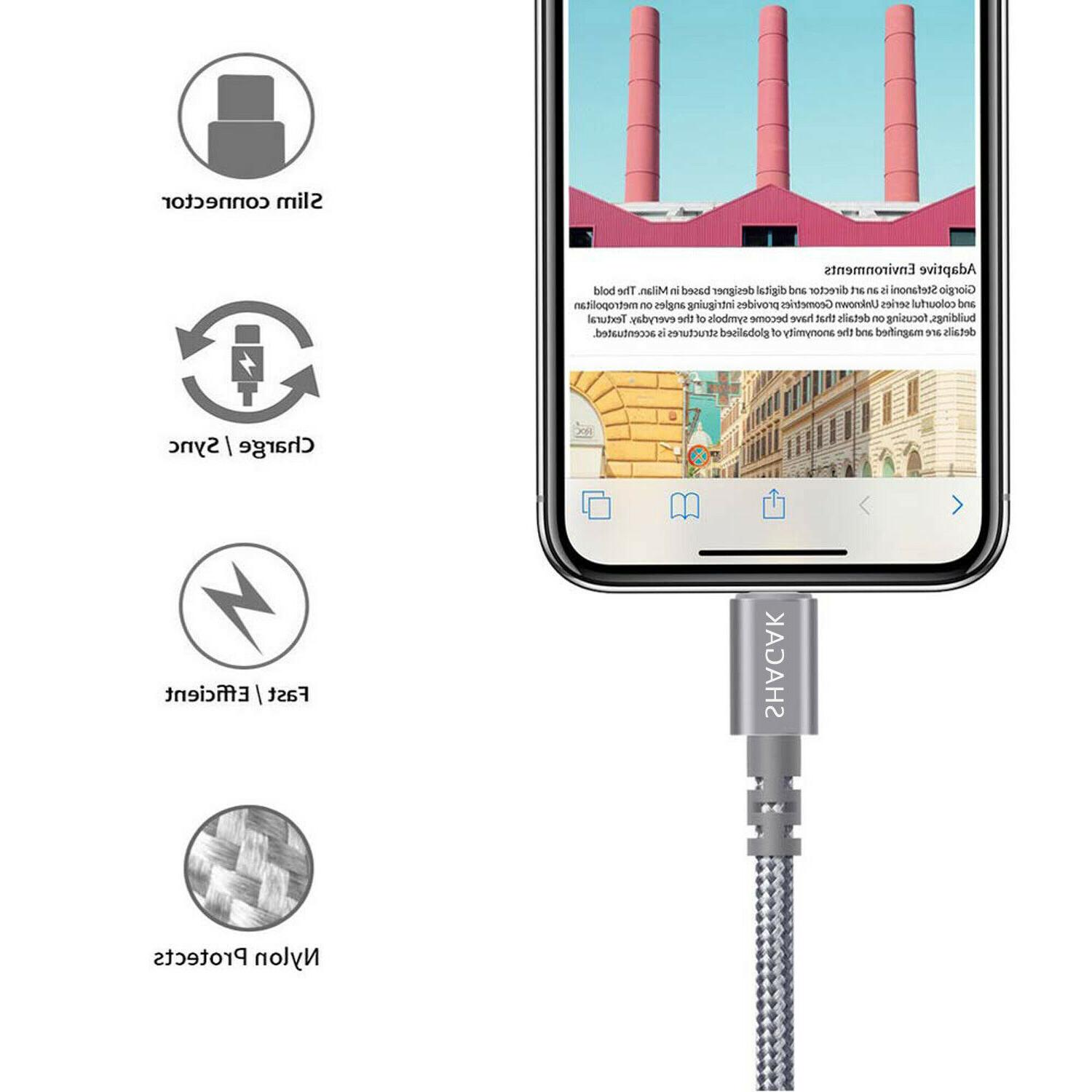 3 Pack Lightning Cable Fits iPhone X USB Charging