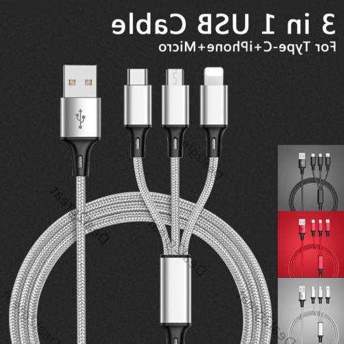 3 in 1 USB Charger Charging Cable Lightning Micro USB Type C