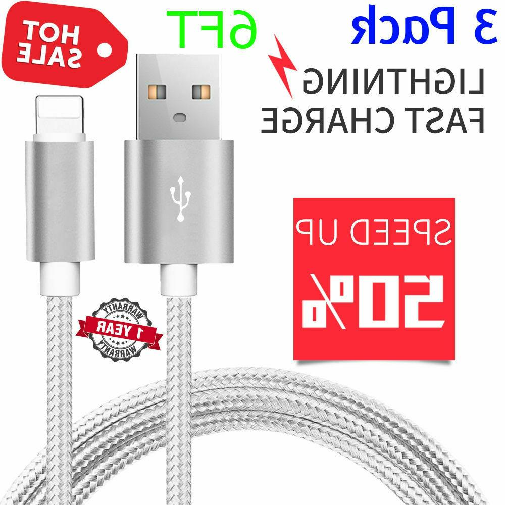 3 pack 6 ft lightning cable iphone