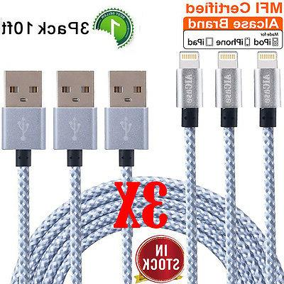 3X 10ft Apple Certified BRAIDED Lightning Cable Charger sync