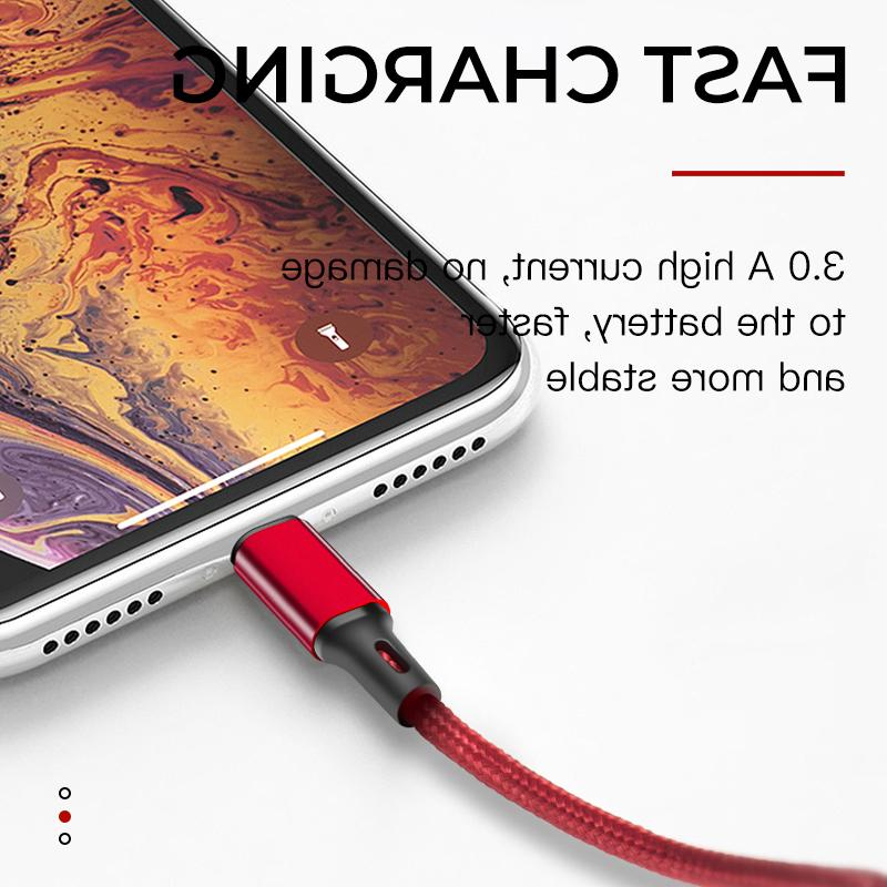 iONCT 3A Fast Nylon USB <font><b>Cable</b></font> for 7 XR Mobile 1M 2M cord