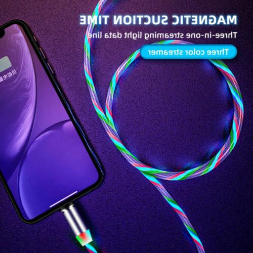 3in1 Magnetic Glowing Micro Phone Charger Cable