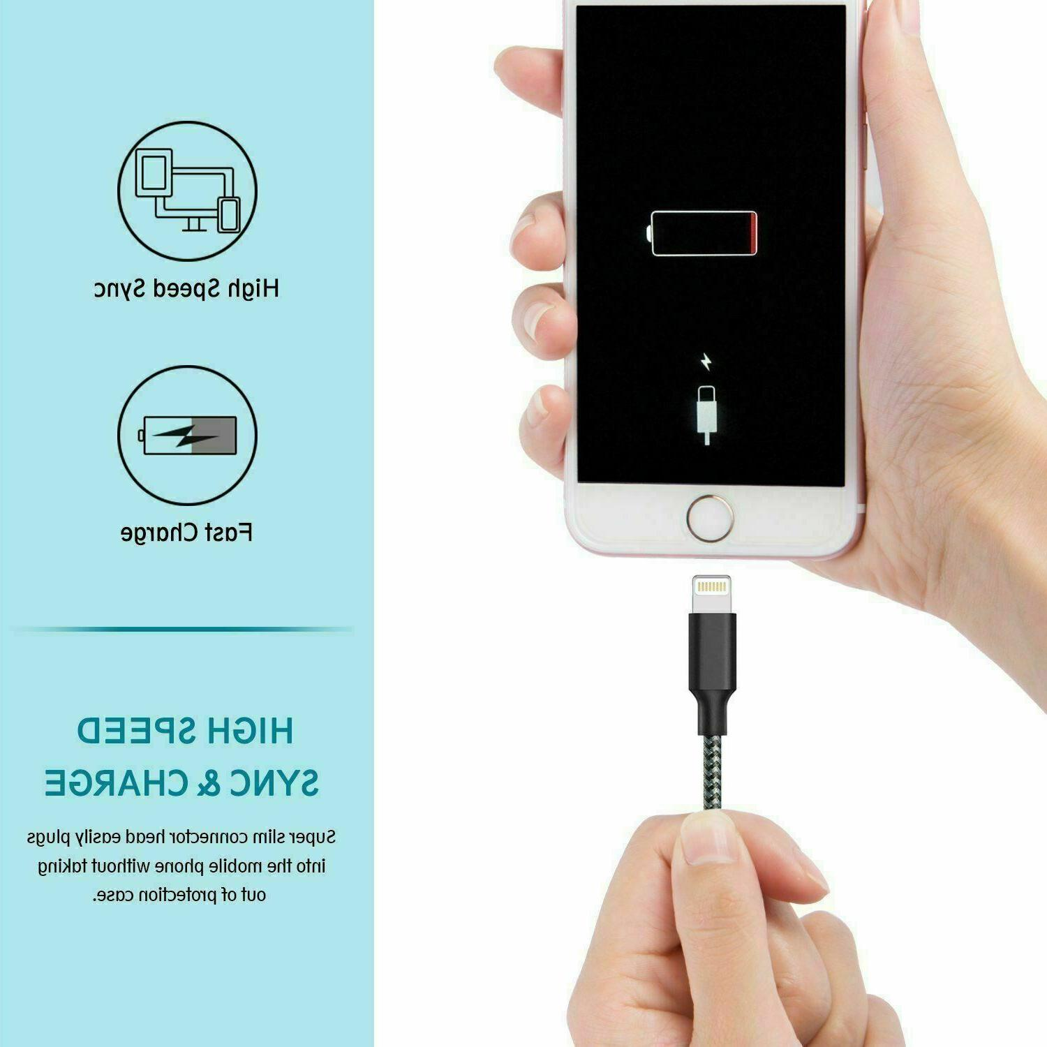3 Pack Cable Heavy iPhone 7 Plus X Charger