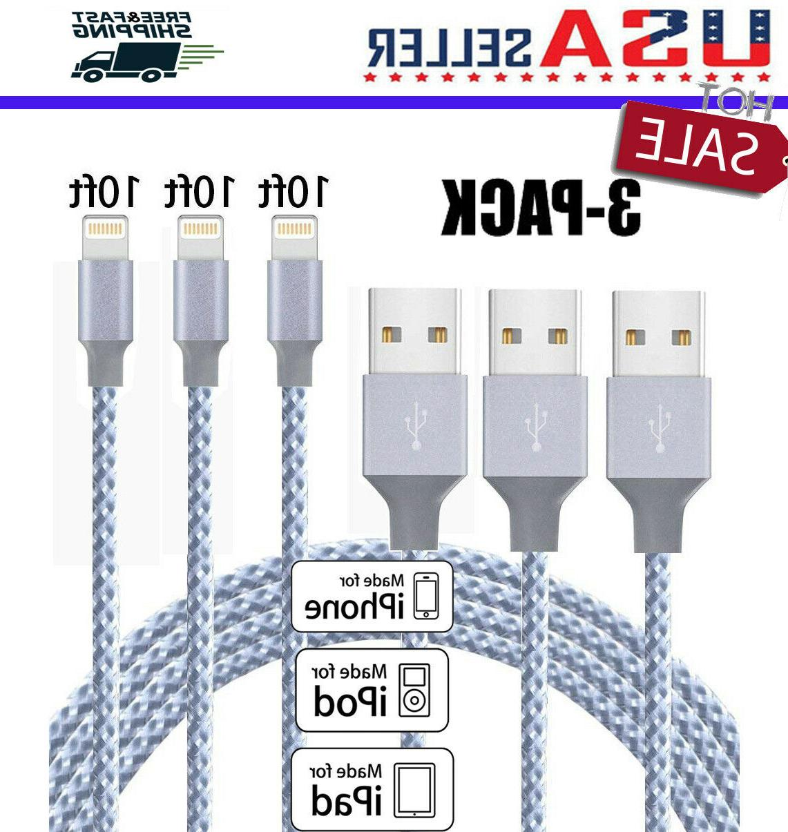 3pack 10ft lightning cable heavy duty