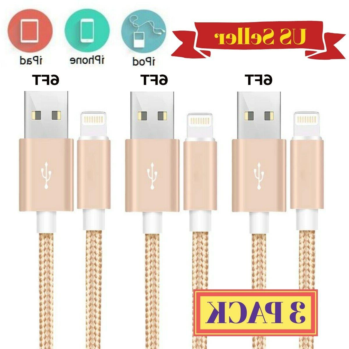 3Pack 6Ft Lightning Cable Heavy Duty For 8 7 Charger Charging