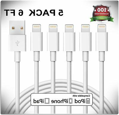 5 Pack 6 Foot Charging Cord Lightning Cable Usb Charger For