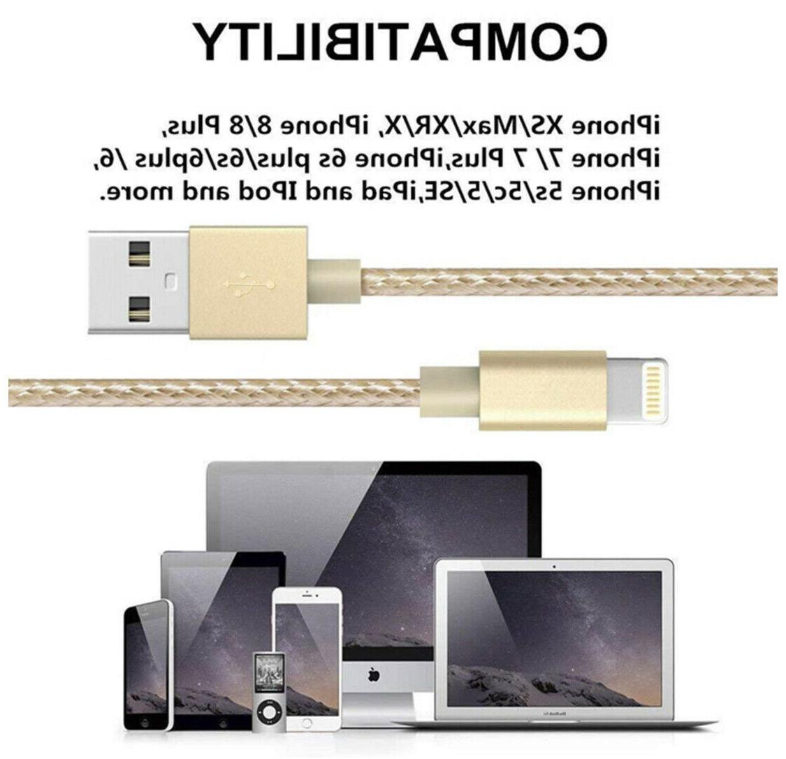 5-Pack Lightning Braided 7 Plus Charging Cord Gold