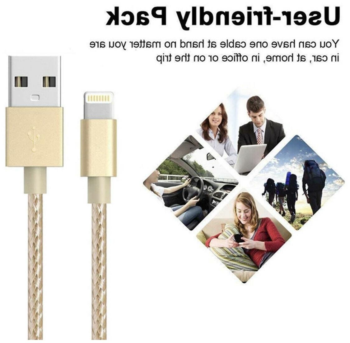 5-Pack Lightning Braided 8 7 Charging Cord Gold