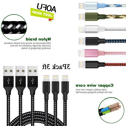 Aofu Braided Lightning USB Charger Cable  For iPhone X 8 7 p