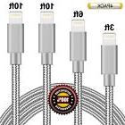 BULESK Lightning Cable 4Pack 3FT 6FT 10FT 10FT Nylon Braided