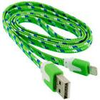 Flat Braided Lightning to USB Cable, Green, 6ft