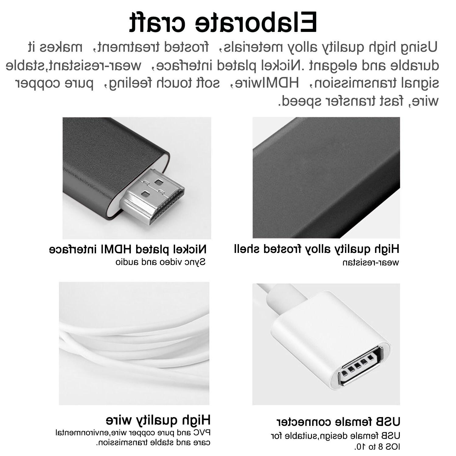 HDMI Cable to TV HDTV Adapter For X/XS Max/7/8