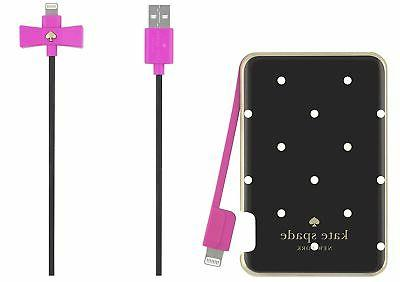 Kate Spade slim portable charger with captive pink lightning