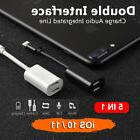 Lightning Splitter Adapter Double Headset Charger Cable For