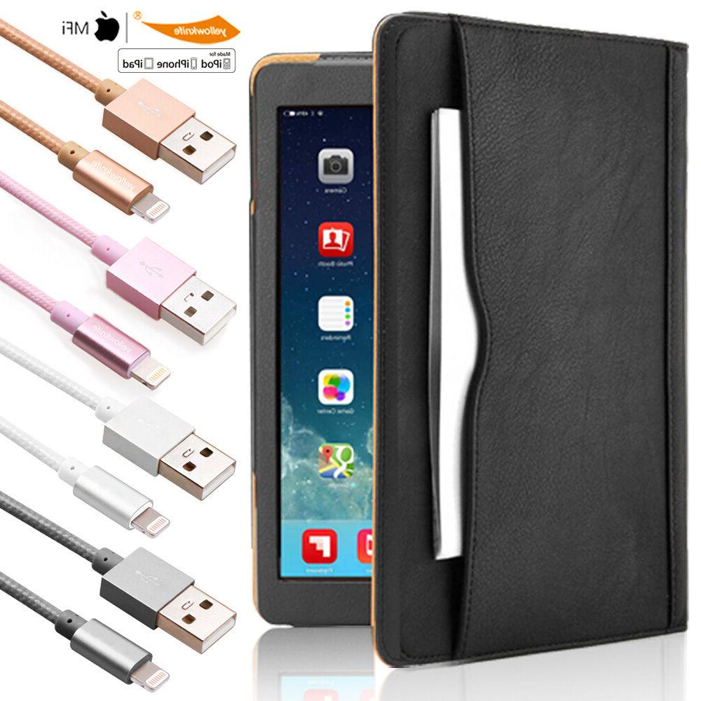 Luxury Leather Wallet Case Stand Lightning USB Cable iPad 2
