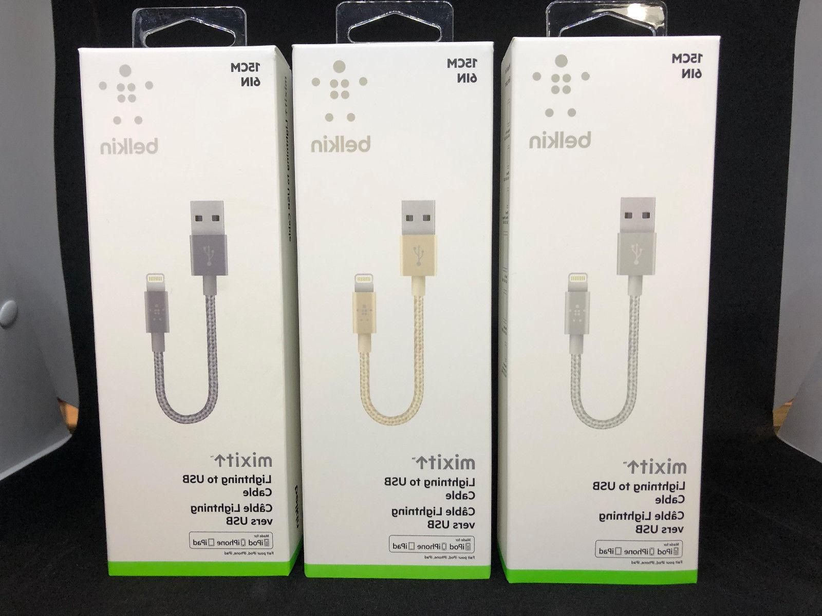 "NEW Belkin MIXIT↑™ 6"" Short Apple iPhone 5 6 7 8 X Metal"