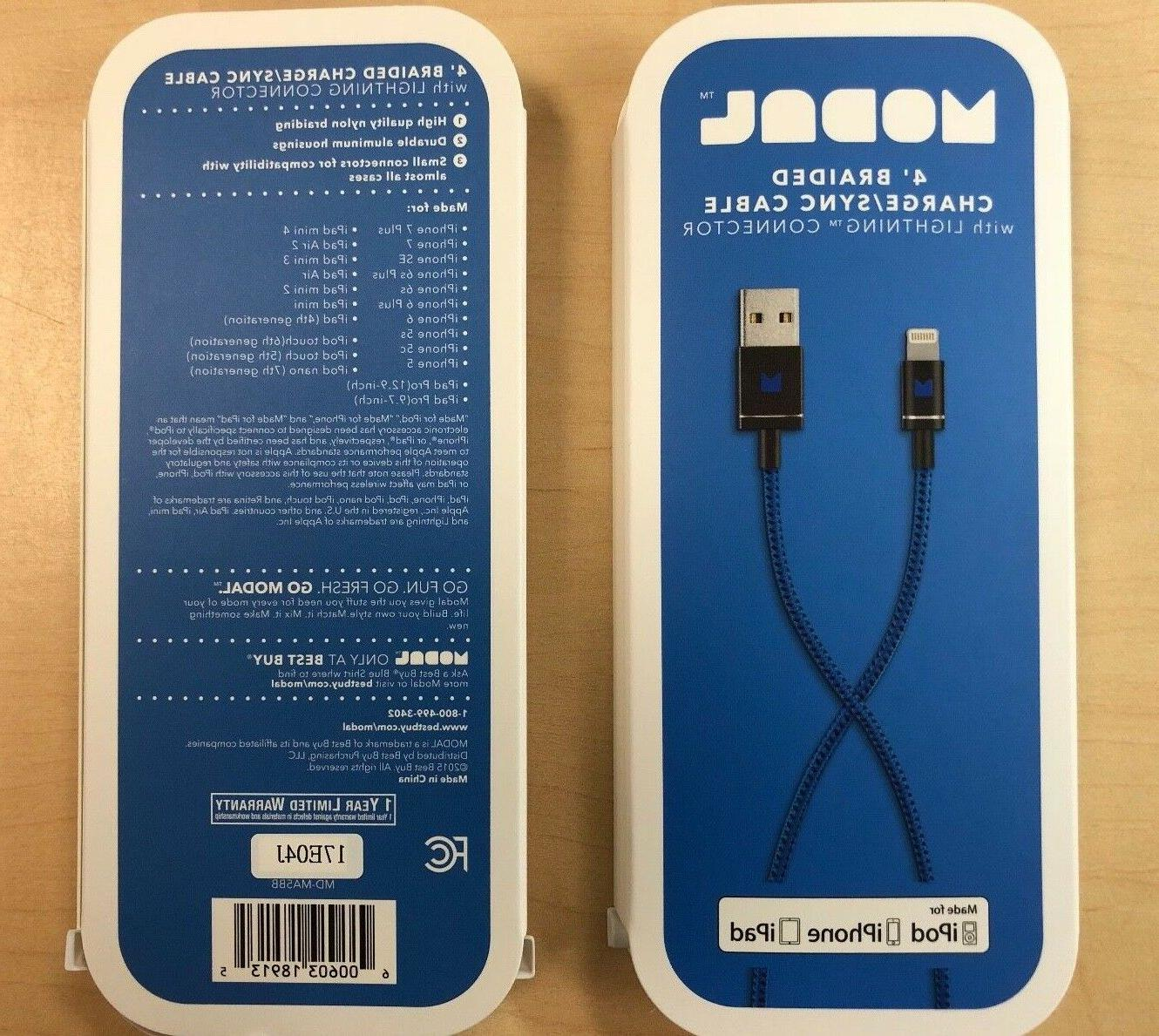 NEW Modal 4ft Braided USB to Lightning Charge & Sync Cable A