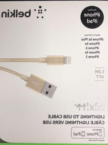 OEM BELKIN Metallic GOLD Lightning USB Charge Sync Cable iPh