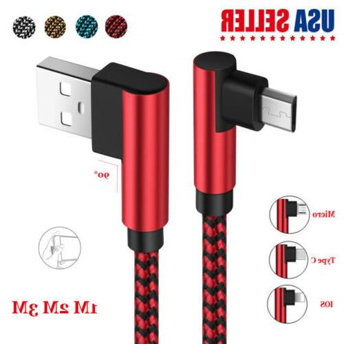 US 1~3M 2A Quick Charging Micro USB Type C Lightning Cable F