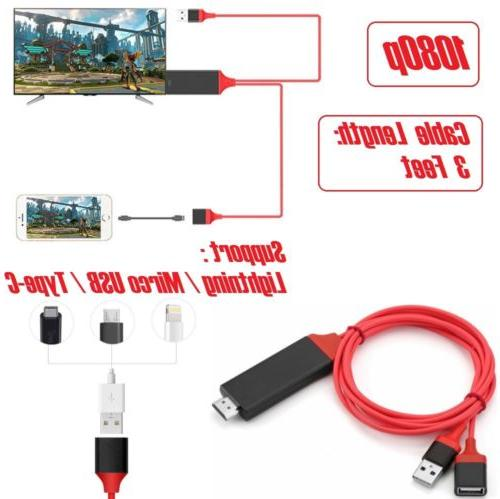 3 in1 Lightning/Micro USB/Type-C to HDMI Cable 1080P HDTV fo