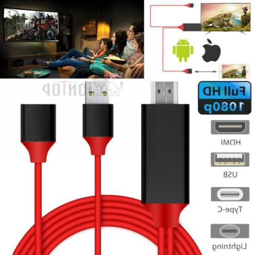 USB Type C Lightning to HDMI w/Charging Cable for Samsung Ga