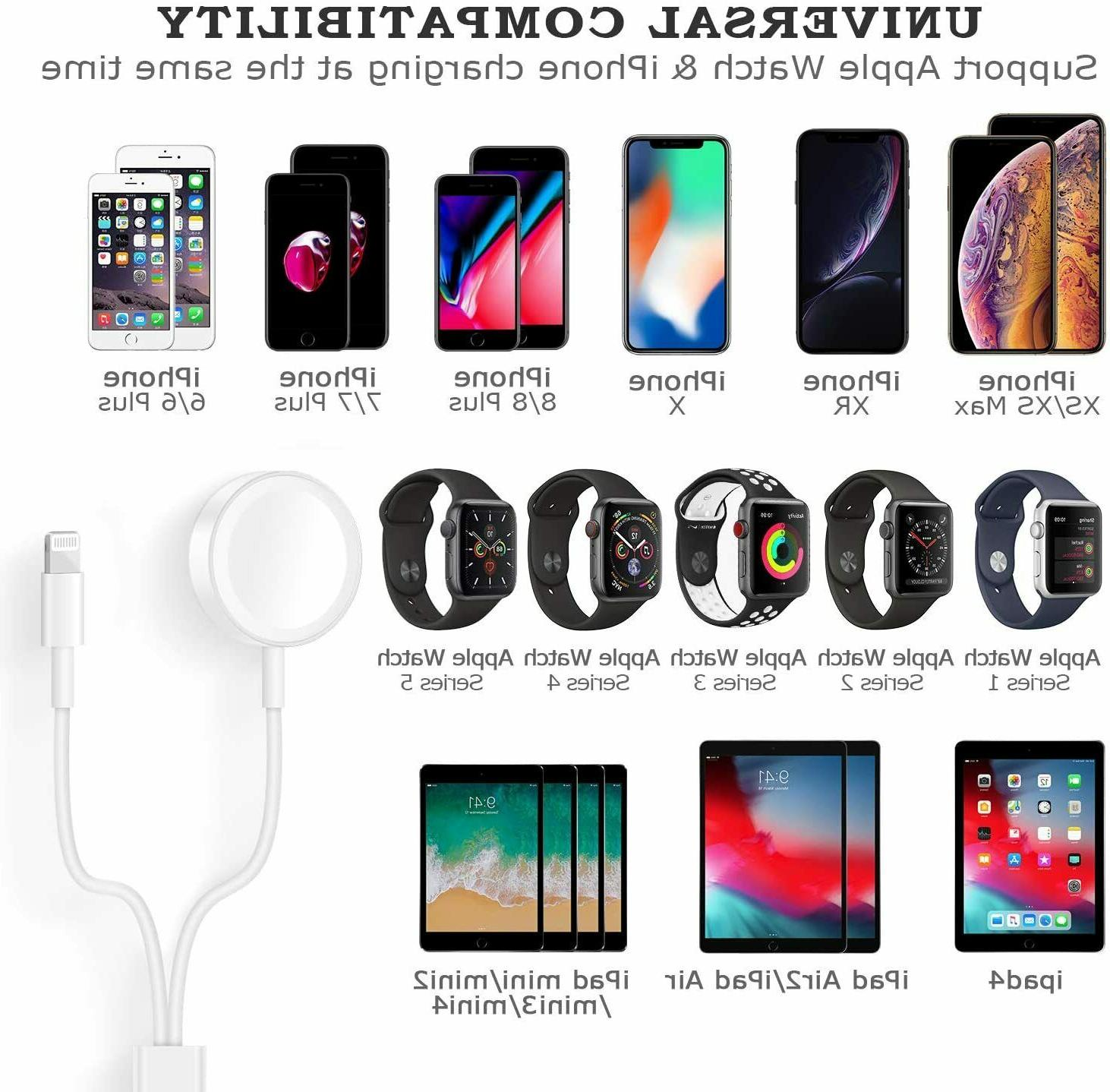 For Apple Watch 5/4/3/2/1 X 2in1 USB Cable