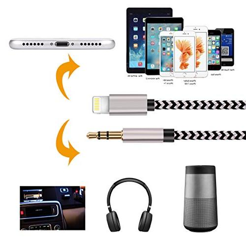 Aux for iPhone, Hzmirzk 3.5mm Cable for iPhone 7/X/8/8 Max/XR to or or Headphone Adapter, Newest iOS Above