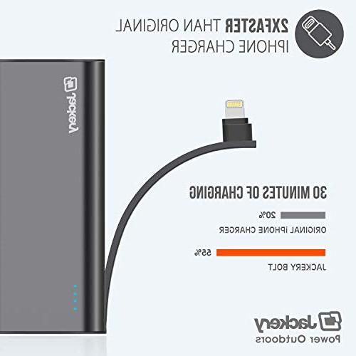 Jackery Power Bank, Built-in Cable Battery for Xs/Xs iPhone 8/7/6 etc, Twice as Original Charger