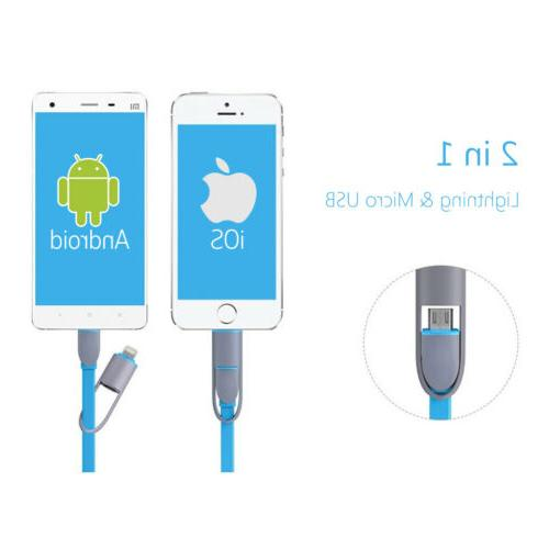 Charger Charging Lightning+Micro USB 8 Pin Retractable for Android